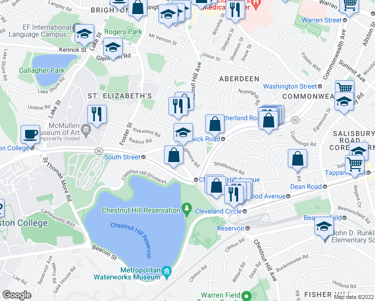 map of restaurants, bars, coffee shops, grocery stores, and more near Strathmore Road & Lothian Road in Boston