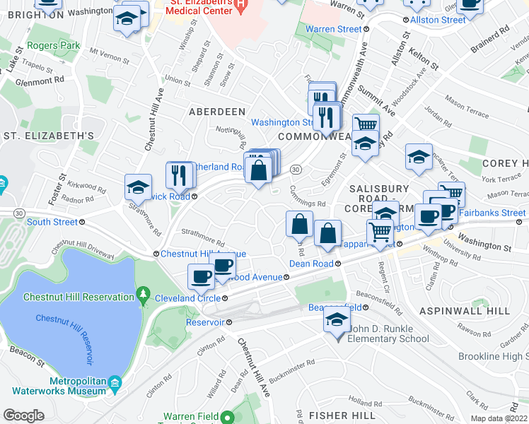 map of restaurants, bars, coffee shops, grocery stores, and more near Lanark Rd in Boston
