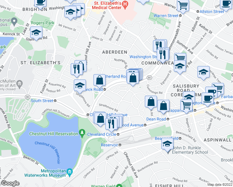 map of restaurants, bars, coffee shops, grocery stores, and more near Kinross Road in Boston
