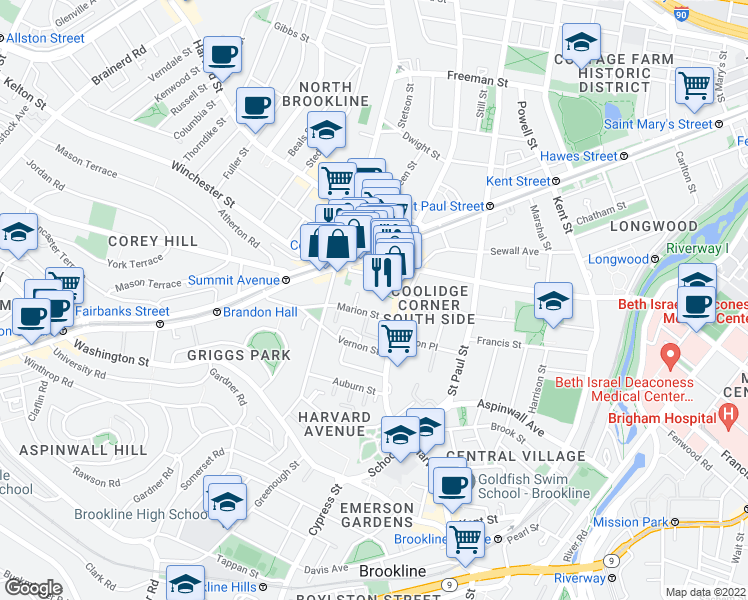 map of restaurants, bars, coffee shops, grocery stores, and more near 25 Marion Street in Brookline