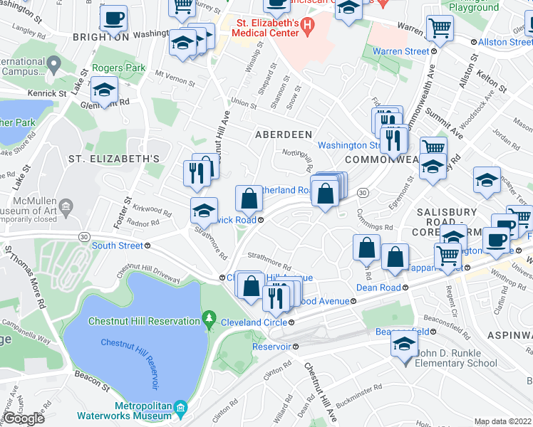 map of restaurants, bars, coffee shops, grocery stores, and more near Commonwealth Avenue & Kinross Rd in Boston