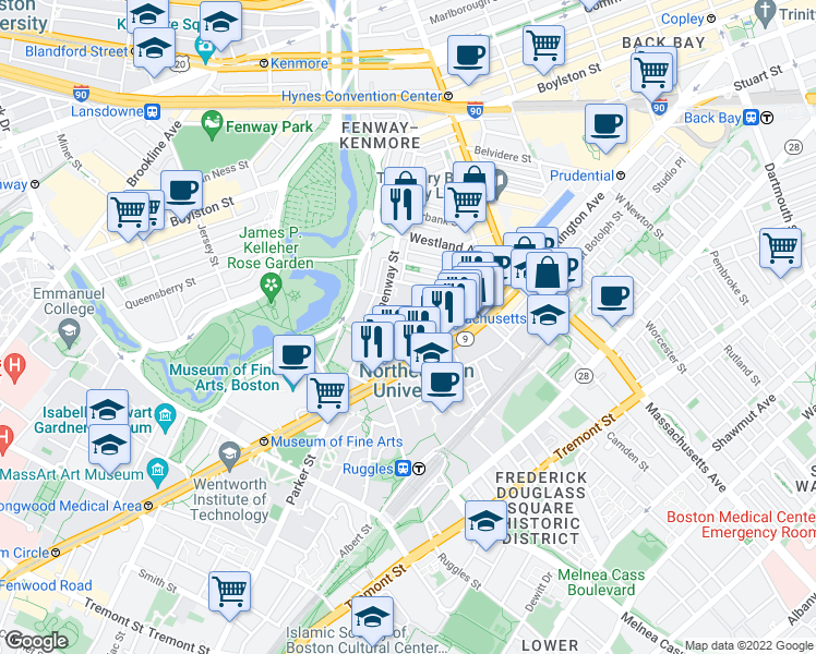 map of restaurants, bars, coffee shops, grocery stores, and more near 121 St Stephen St in Boston