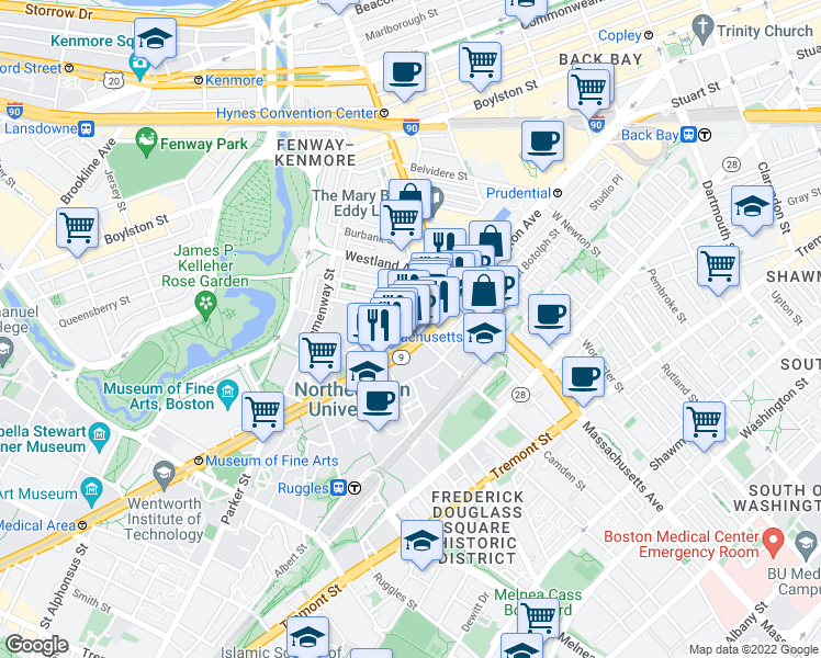 map of restaurants, bars, coffee shops, grocery stores, and more near Gainsborough Street in Boston