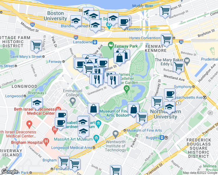 map of restaurants, bars, coffee shops, grocery stores, and more near 56 Queensberry Street in Boston
