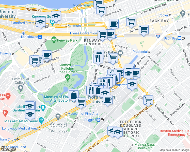 map of restaurants, bars, coffee shops, grocery stores, and more near Hemenway Street & Gainsborough Street in Boston