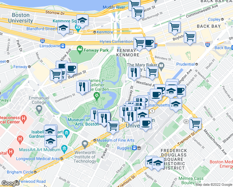 map of restaurants, bars, coffee shops, grocery stores, and more near 102-110 Fenway in Boston