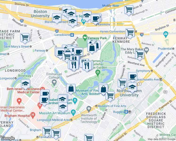 map of restaurants, bars, coffee shops, grocery stores, and more near 40 Queensberry Street in Boston