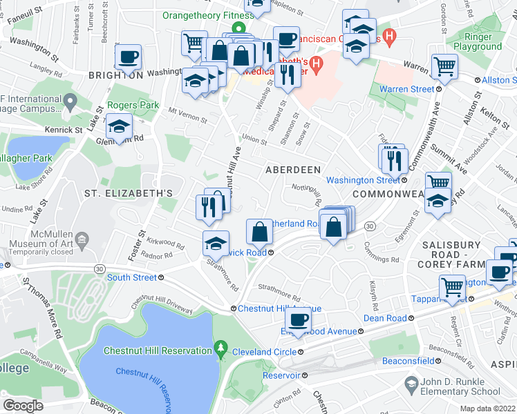map of restaurants, bars, coffee shops, grocery stores, and more near Wallingford Road in Boston