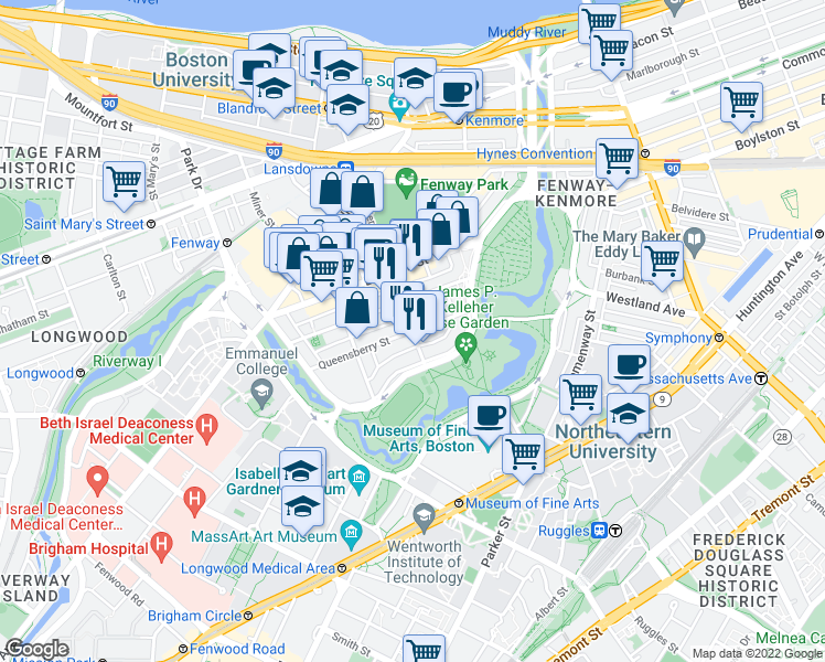 map of restaurants, bars, coffee shops, grocery stores, and more near Queensberry St & Jersey St in Boston