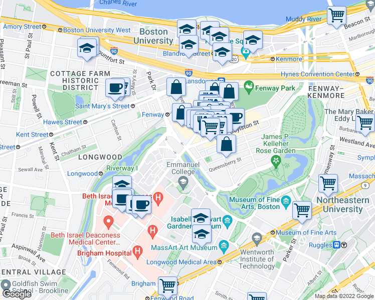 map of restaurants, bars, coffee shops, grocery stores, and more near Park Drive in Boston