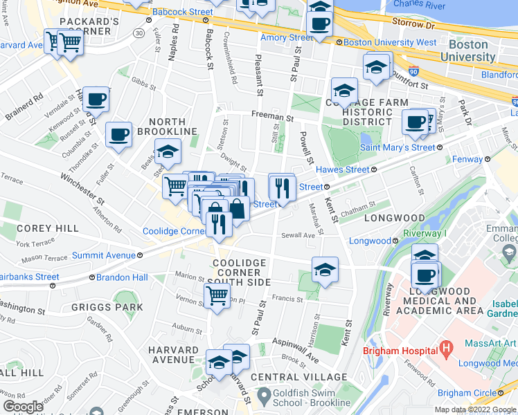 map of restaurants, bars, coffee shops, grocery stores, and more near 1258 Beacon Street in Brookline