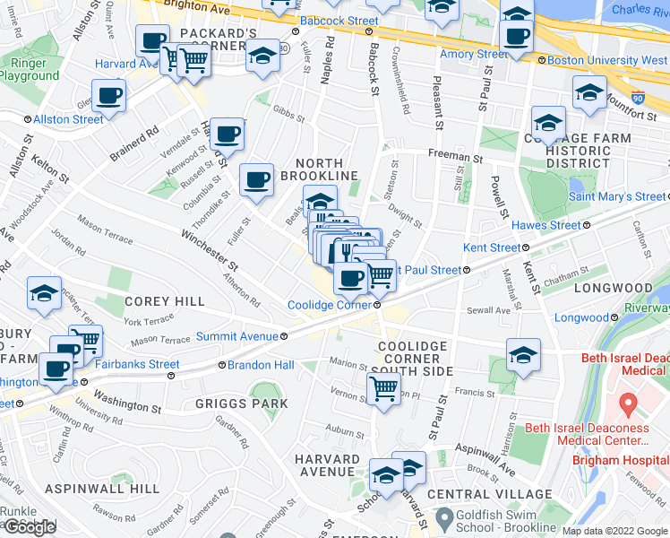 map of restaurants, bars, coffee shops, grocery stores, and more near Harvard Street & Babcock Street in Brookline