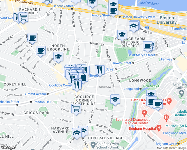 map of restaurants, bars, coffee shops, grocery stores, and more near 21 James Street in Brookline