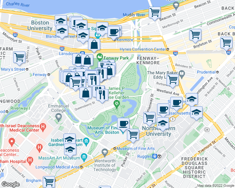 map of restaurants, bars, coffee shops, grocery stores, and more near Park Drive & Queensberry Street in Boston