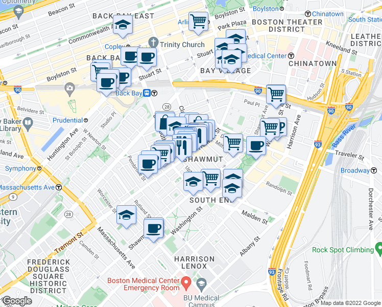map of restaurants, bars, coffee shops, grocery stores, and more near Tremont Street & Union Park in Boston