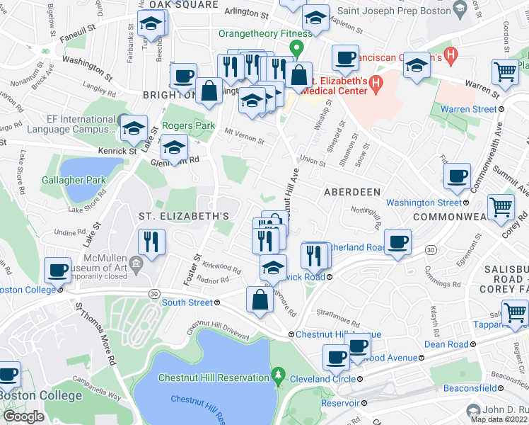 map of restaurants, bars, coffee shops, grocery stores, and more near Wiltshire Road in Boston