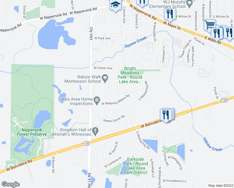 map of restaurants, bars, coffee shops, grocery stores, and more near 244 South Primrose Lane in Round Lake