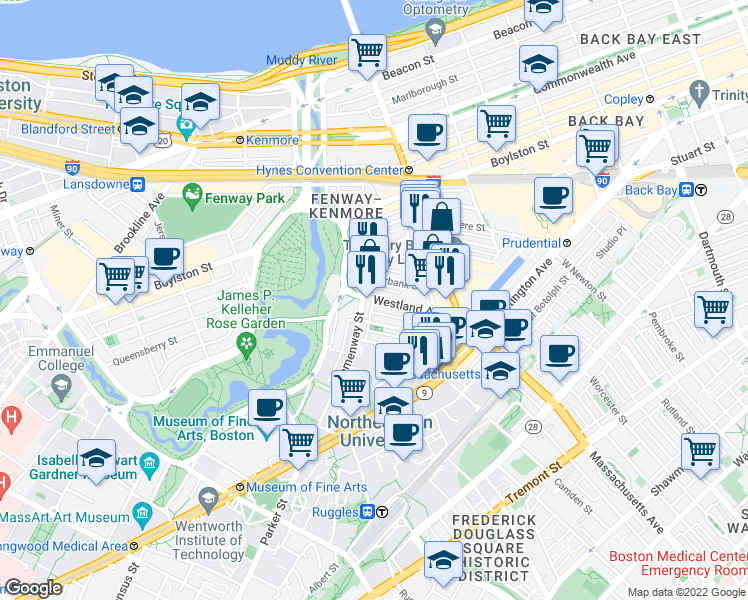 map of restaurants, bars, coffee shops, grocery stores, and more near Public Alley 819 in Boston