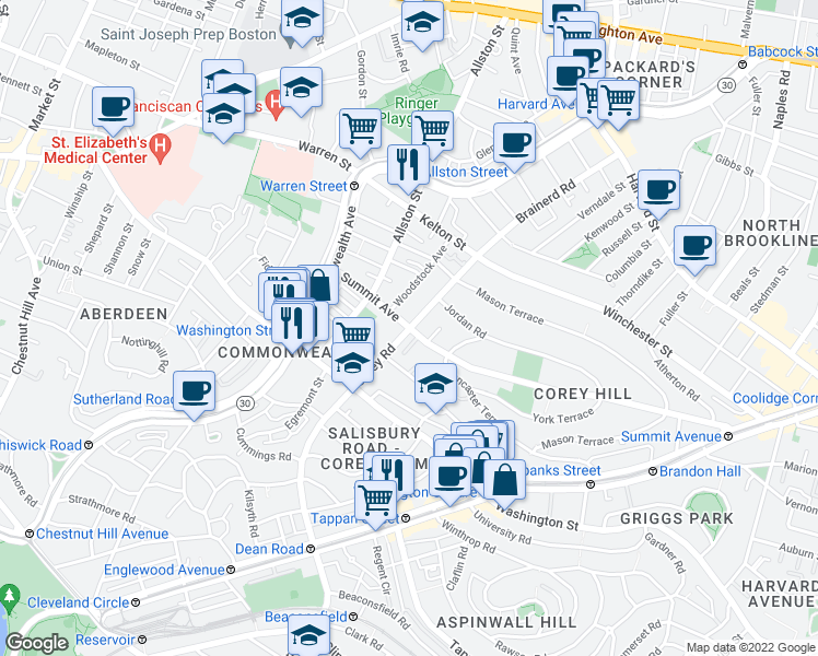 map of restaurants, bars, coffee shops, grocery stores, and more near Summit Ave & Corey Rd in Boston