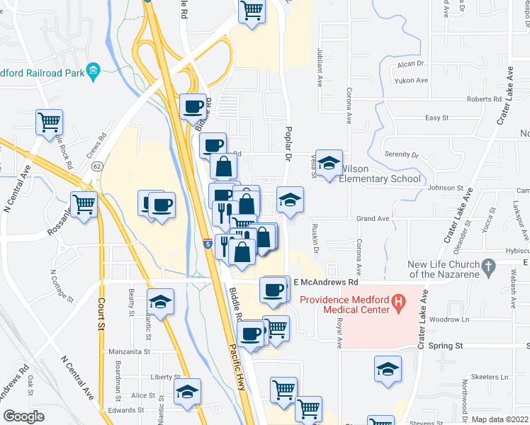 map of restaurants, bars, coffee shops, grocery stores, and more near 1481 Poplar Drive in Medford