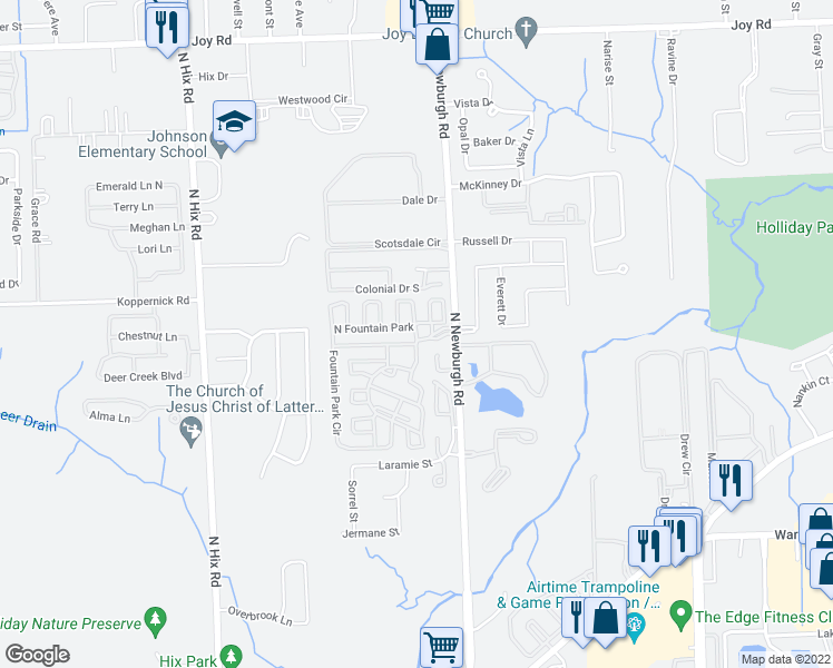 map of restaurants, bars, coffee shops, grocery stores, and more near 37410 Fountain Park Circle in Westland