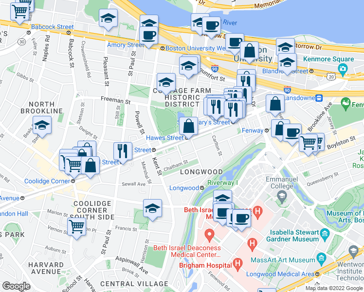 map of restaurants, bars, coffee shops, grocery stores, and more near 1111 Beacon Street in Brookline