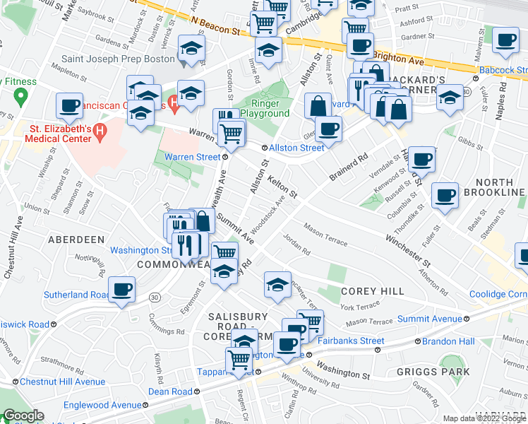 map of restaurants, bars, coffee shops, grocery stores, and more near Vinal Street in Boston