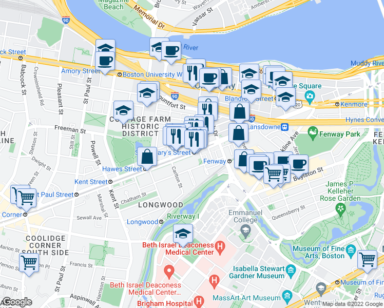 map of restaurants, bars, coffee shops, grocery stores, and more near Beacon Street in Boston