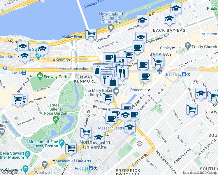 map of restaurants, bars, coffee shops, grocery stores, and more near Massachusetts Ave & St Germain St in Boston