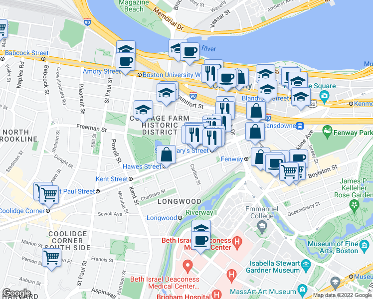 map of restaurants, bars, coffee shops, grocery stores, and more near Carlton St in Brookline
