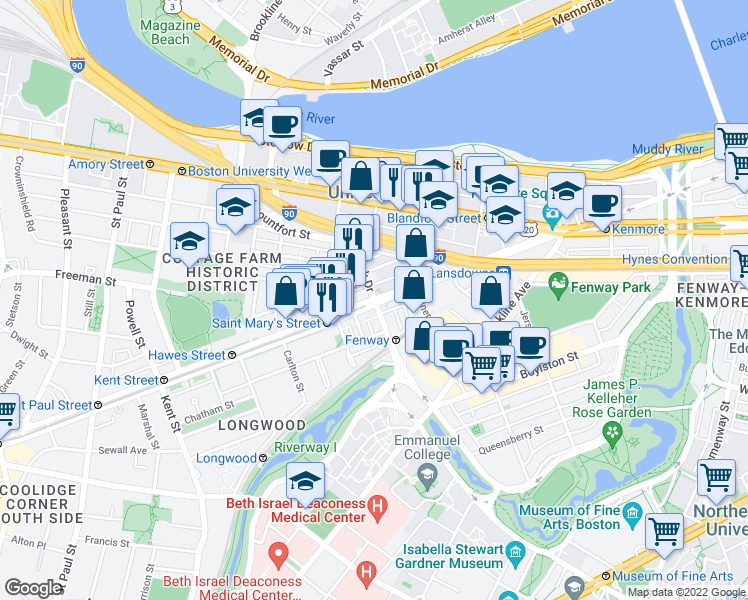 map of restaurants, bars, coffee shops, grocery stores, and more near Beacon Street & Park Drive in Boston