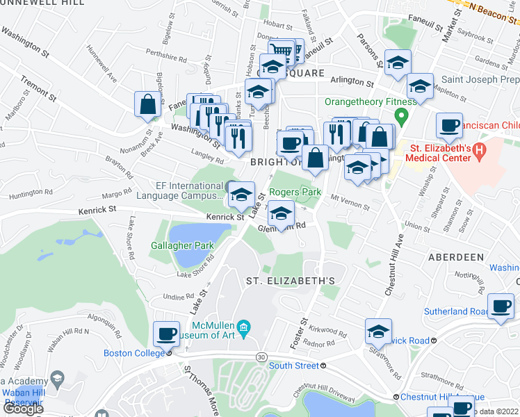map of restaurants, bars, coffee shops, grocery stores, and more near 201 Lake Street in Boston