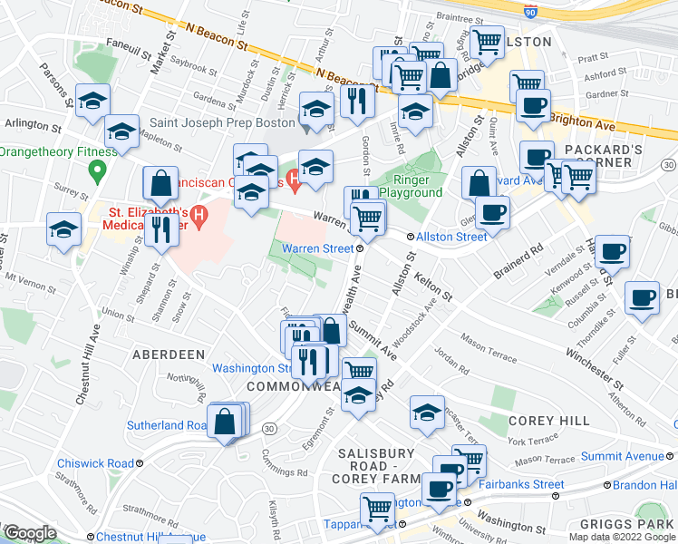 map of restaurants, bars, coffee shops, grocery stores, and more near 1501 Commonwealth Avenue in Boston