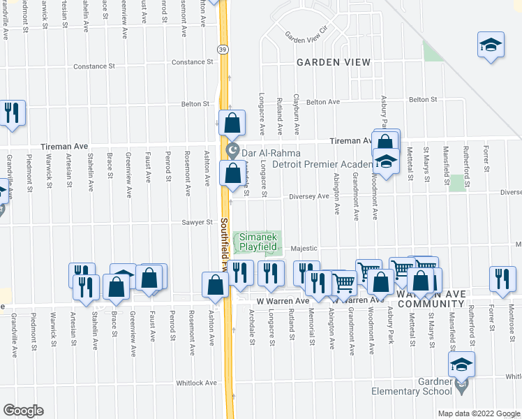 map of restaurants, bars, coffee shops, grocery stores, and more near 7525 Longacre Street in Detroit
