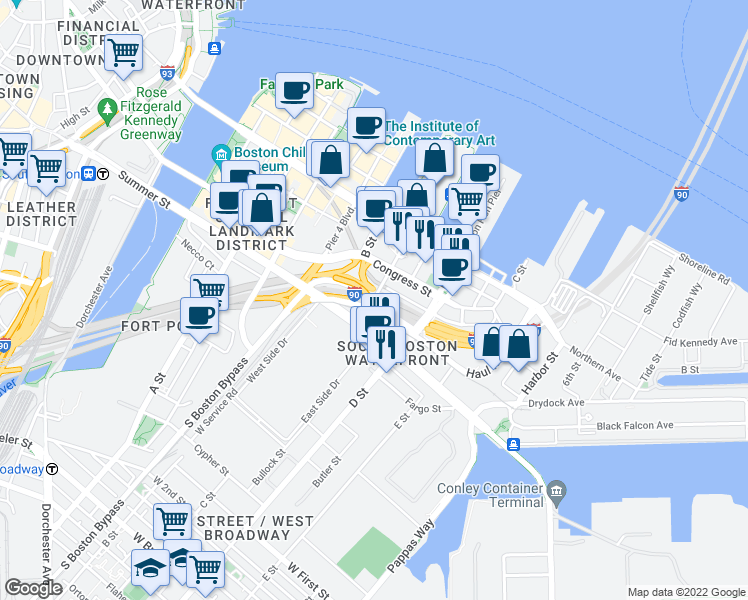 map of restaurants, bars, coffee shops, grocery stores, and more near World Trade Center Avenue in Boston