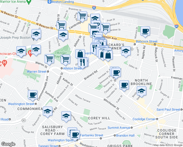 map of restaurants, bars, coffee shops, grocery stores, and more near Brainerd Road in Boston