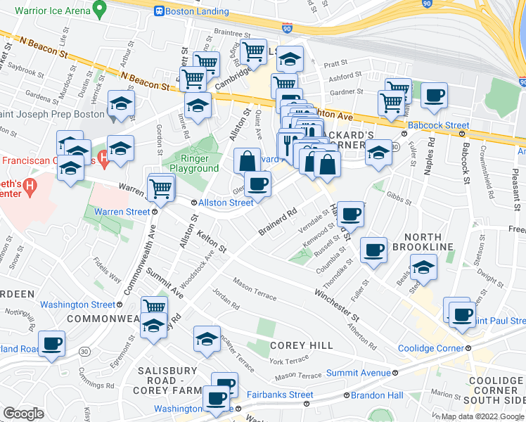 map of restaurants, bars, coffee shops, grocery stores, and more near Griggs Street in Boston