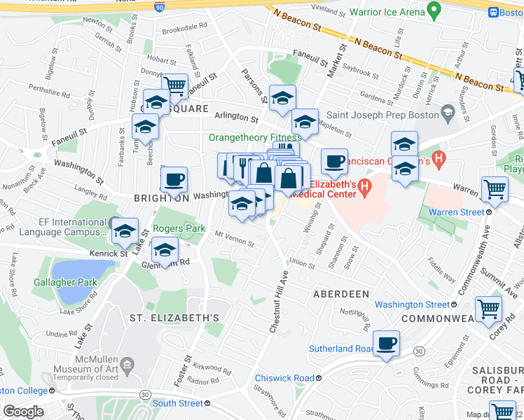 map of restaurants, bars, coffee shops, grocery stores, and more near Baldwin Pl in Boston