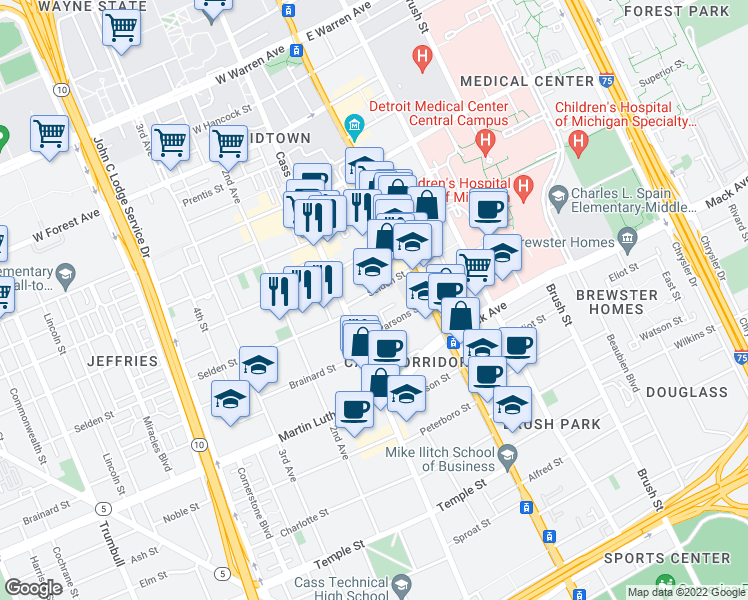map of restaurants, bars, coffee shops, grocery stores, and more near 123 Selden Street in Detroit