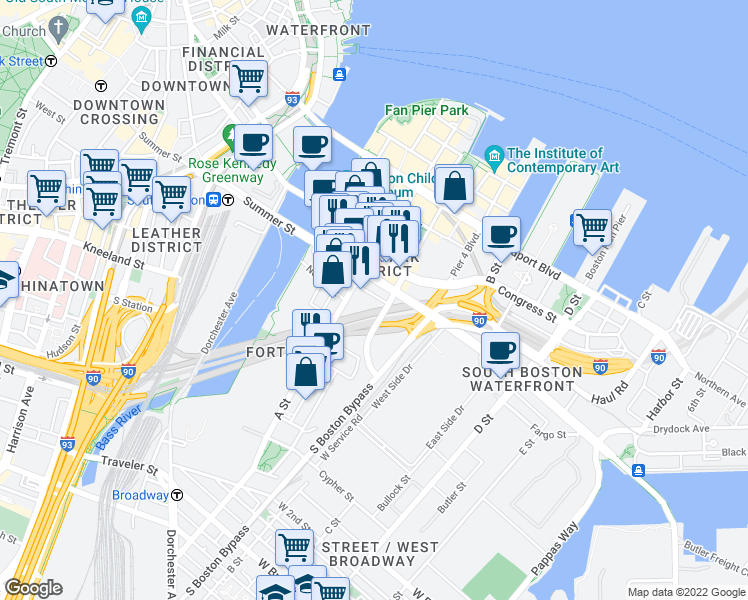 map of restaurants, bars, coffee shops, grocery stores, and more near 315 A Street in Boston