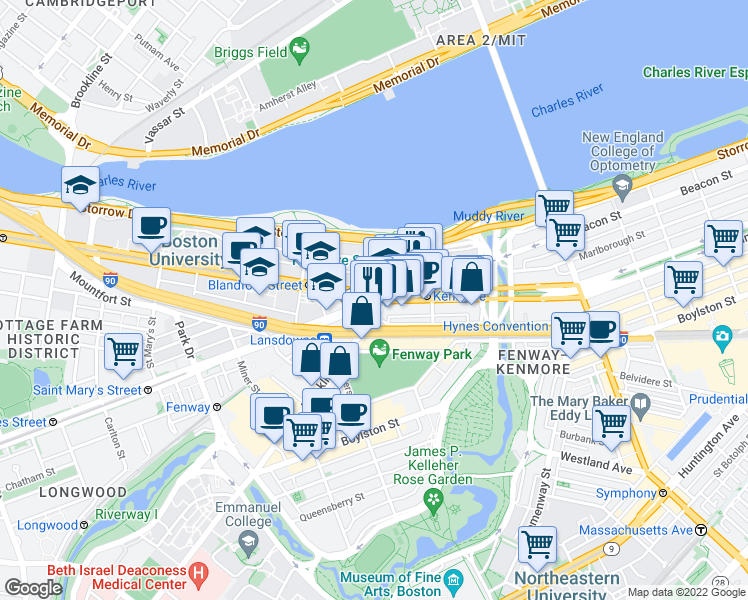 map of restaurants, bars, coffee shops, grocery stores, and more near Commonwealth Avenue & Beacon Street in Boston