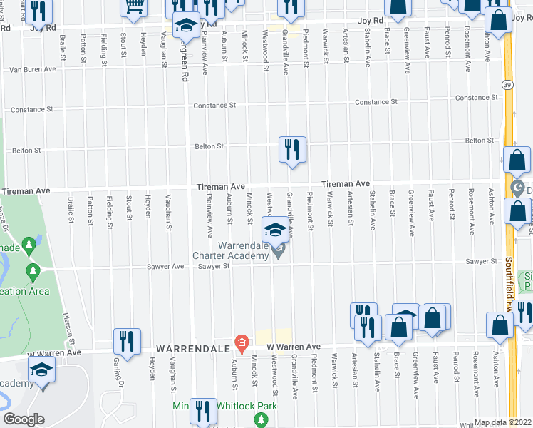 map of restaurants, bars, coffee shops, grocery stores, and more near 7759 Westwood Street in Detroit