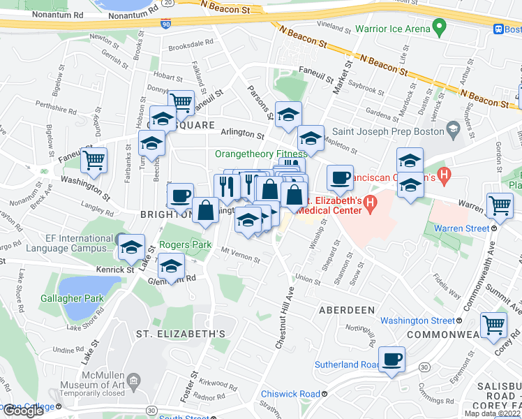 map of restaurants, bars, coffee shops, grocery stores, and more near Washington St & Dighton St in Boston