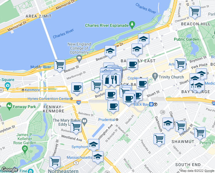 map of restaurants, bars, coffee shops, grocery stores, and more near 250 Newbury Street in Boston
