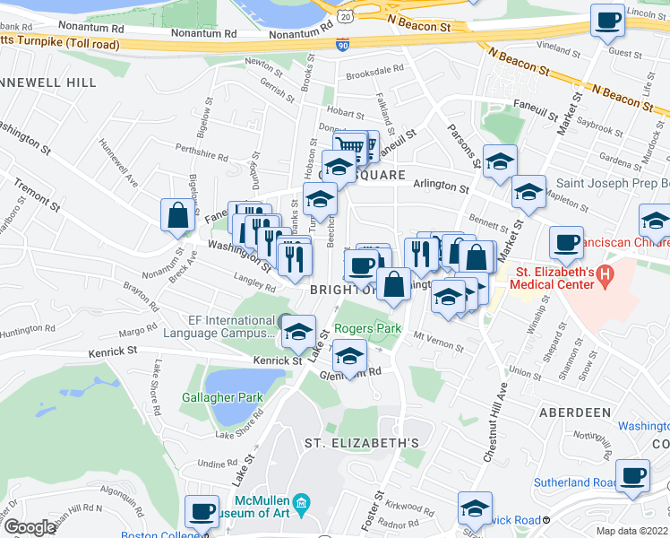 map of restaurants, bars, coffee shops, grocery stores, and more near 15 Beechcroft Street in Boston