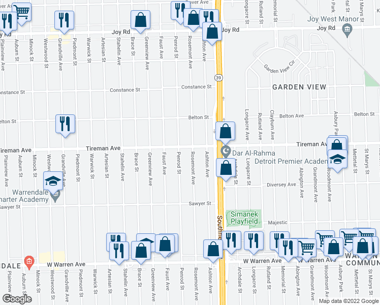 map of restaurants, bars, coffee shops, grocery stores, and more near 7829 Rosemont Avenue in Detroit
