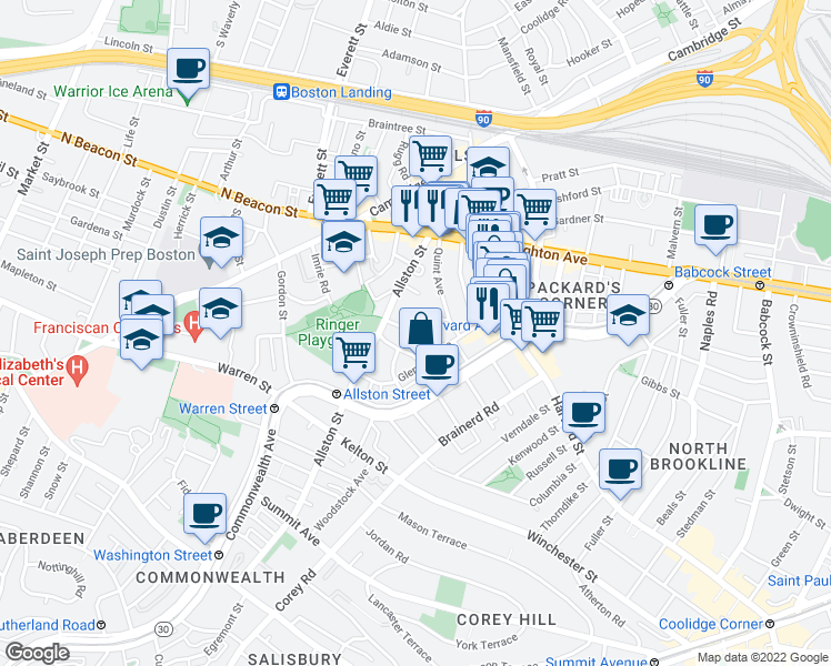 map of restaurants, bars, coffee shops, grocery stores, and more near Greylock Road in Boston
