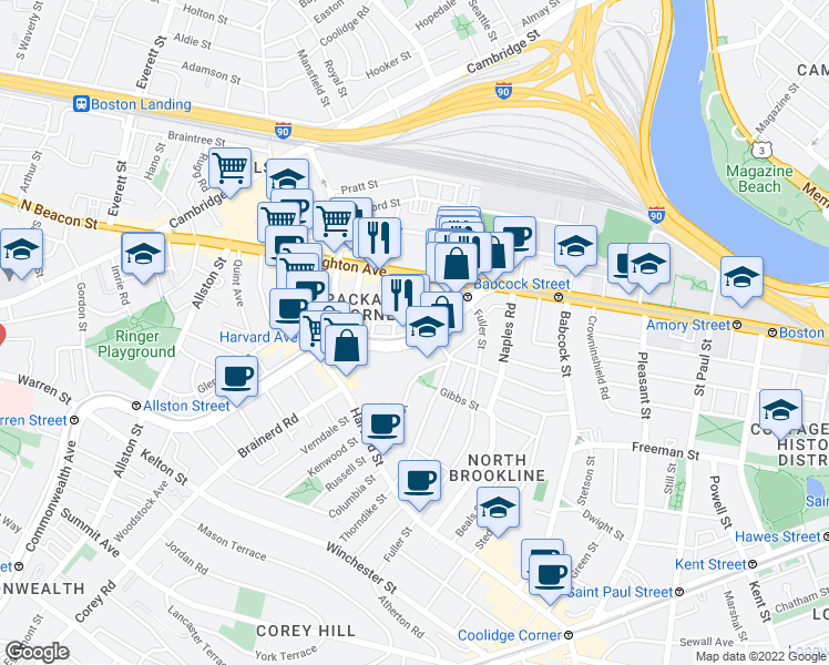 map of restaurants, bars, coffee shops, grocery stores, and more near Commonwealth Ave & St Lukes Rd in Boston