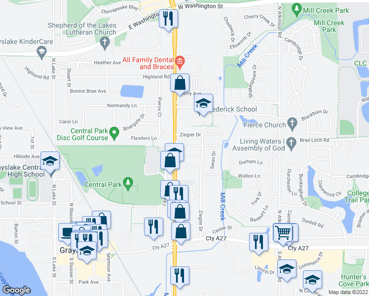 map of restaurants, bars, coffee shops, grocery stores, and more near 571 Ziegler Drive in Grayslake