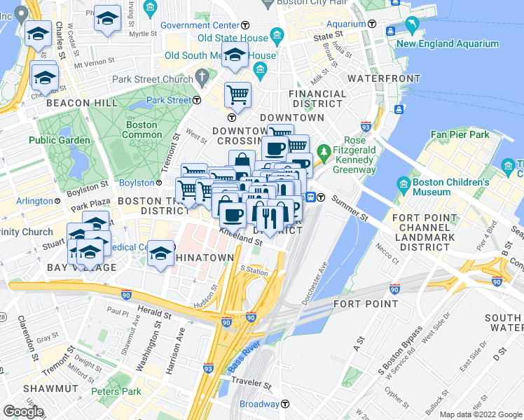 map of restaurants, bars, coffee shops, grocery stores, and more near Lincoln Street in Boston